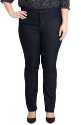 Plus Size Women's Nydj 'Marilyn' Stretch Straight Leg Jeans Dark Blue Petite Plus