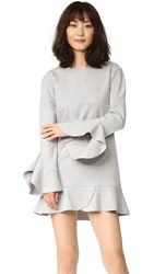 Goen.J Long Sleeve Dress With Ruffle Trim Melange Grey