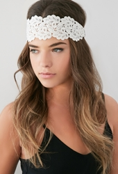 Forever 21 Scalloped Crochet Headwrap Cream