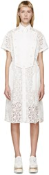 Sacai White Belted Star Lace Dress