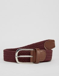 New Look Woven Belt In Burgundy Dark Burgundy Red