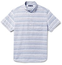Alex Mill Button Down Collar Striped Linen And Cotton Blend Shirt Blue