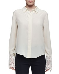 Chloe Silk Blouse W Lace Cuffs Cream