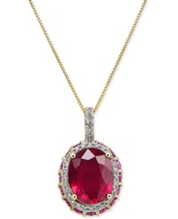 Macy's Ruby 3 9 10 Ct. T.W. And White Sapphire 1 6 Ct. T.W. Pendant Necklace In 10K Gold Red