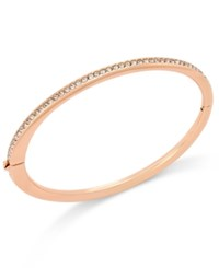 Danori Rose Gold Tone Channel Set Crystal Thin Hinged Bangle Bracelet
