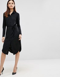 Asos Button Front Shirt Dress Black