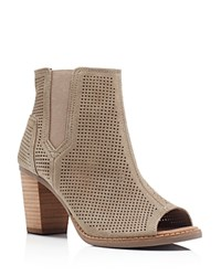 Toms Majorca Perforated Open Toe Booties Stucco