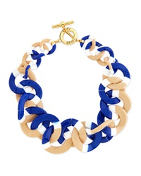 Tory Burch Resin Link Necklace White Blue Tan
