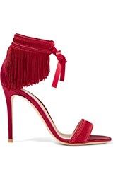 Gianvito Rossi Fringed Satin Sandals Red