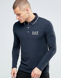 Emporio Armani Ea7 Polo Shirt With Tipping In Navy Long Sleeves Navy