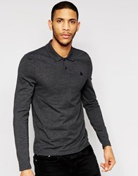 Asos Long Sleeve Muscle Pique Polo In Charcoal Charcoal Marl