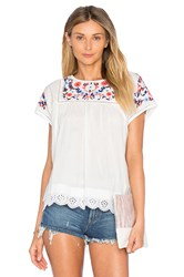 Rebecca Taylor Short Sleeve Garden Embroidered Top White