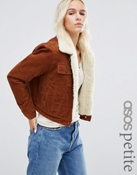 Asos Petite Cord Cropped Jacket With Borg In Rust Tan Brown