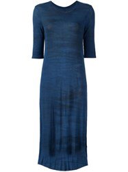Raquel Allegra Tie Dye Print Midi Dress Blue