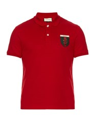 Gucci Snake Crest Cotton Blend Polo Shirt Red Multi