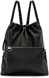 Maison Martin Margiela Black Leather Drawstring Backpack
