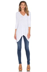 Bobi Cotton Slub V Neck Dolman Long Sleeve Tee White