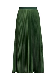 Vanessa Bruno Fadia Satin Back Crepe Pleated Midi Skirt Dark Green
