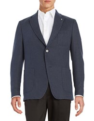 Bugatti Two Button Knit Jacket Blue