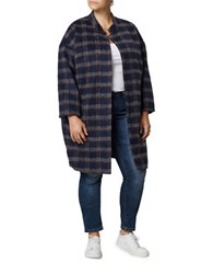 Junarose Plaid Long Sleeve Coat Black Iris