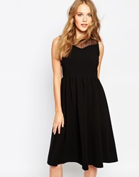 Suncoo Cristal Dress With Sheer Yoke Noir