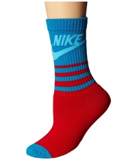 Nike Nsw Classic Striped Hbr Sock Sport Red Light Blue Lacquer Clearwater Men's Crew Cut Socks Shoes