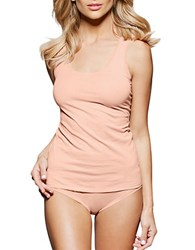 Fine Lines Pure Cotton Wide Strap Rounded Neck Camisole Peach Nectar