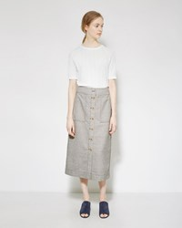 3.1 Phillip Lim Button Front Skirt Gravel