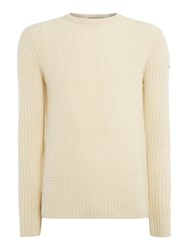 Duck And Cover Men's Oban Crew Textured Knit Jumper Cream