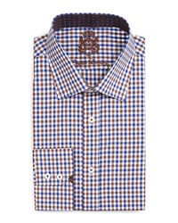English Laundry Gingham Check Dress Shirt Brown Navy