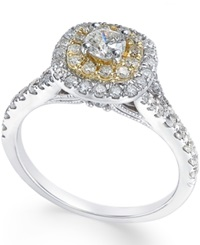 Macy's Diamond Two Tone Engagement Ring 1 Ct. T.W. In 14K Gold And White Gold