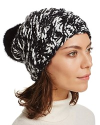 Aqua Ribbed Slouchy Hat With Rabbit Fur Pom Pom 100 Bloomingdale's Exclusive Ivory Black