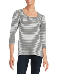 Lord And Taylor Striped Crewneck Top Heather Grey