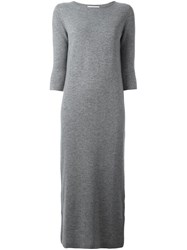 Allude Long Knitted Dress Grey