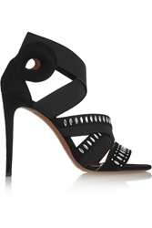 Alaia Embellished Suede And Elastic Sandals