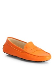 Tod's Leather Gommini Moccasin Drivers Orange