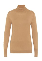 Hallhuber Fine Knit Jumper With Stand Collar Camel