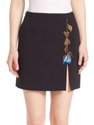 Christopher Kane Rose Embroidered Mini Skirt Black