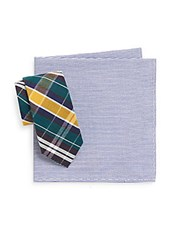 Original Penguin Park Plaid Tie And Striped Pocket Square Navy