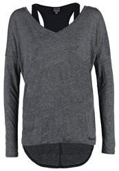 Bench Carefree 2In1 Long Sleeved Top Black Marl Mottled Dark Grey