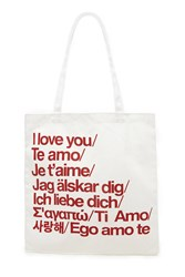 Forever 21 I Love You Graphic Canvas Tote Cream Red