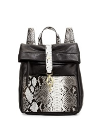 Neiman Marcus Tess Roll Snake Embossed Backpack Black White