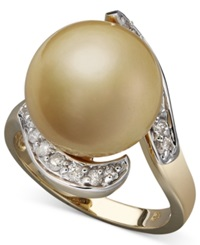 Macy's 14K Gold Ring Cultured Golden South Sea Pearl 14Mm And Diamond 1 3 Ct. T.W