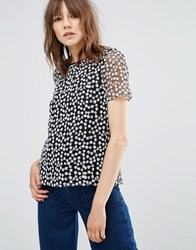Ymc Floral Embroidered Top Black White