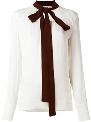 Marni Contrast Pussy Bow Blouse White