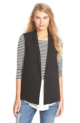 Junior Women's Frenchi Sleeveless Blazer Black