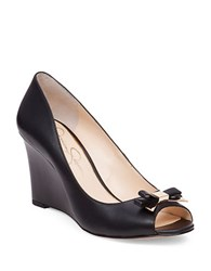 Jessica Simpson Lecia Leather Open Toe Wedge Shoes Black
