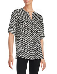 Calvin Klein Striped Roll Tab Blouse Black White