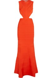 Herve Leger Cassandra Backless Bandage Gown Bright Orange