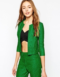 Ax Paris Collarless Jacket In Bonded Lace Green